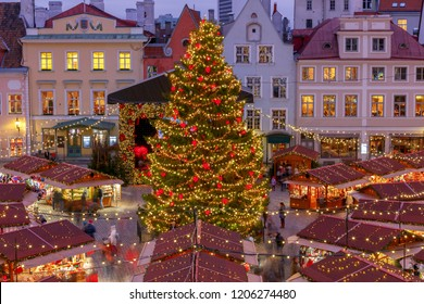 Tallinn. Town Hall Square at Christmas.