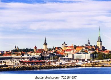 TALLINN : View on Tallinn old town from the Baltic Sea on a sunny summer day