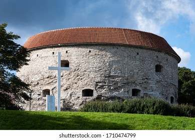 TALLINN/ESTONIA - SEPT. 6, 2020: A photo of the medieval-era Fat Margaret Tower (Paks Margareeta), home to the country's Maritime Museum, located on the boundary of Tallinn's Old Town area.