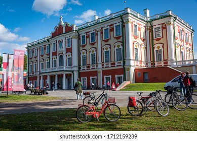 TALLINN/ESTONIA - SEPT. 6, 2020: Photo of the front of the historic Kadriorg Palace (with parked bicycles), in Kadrioru Park and home to part of Tallinn's Kunstmuuseum (art museum).