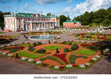 TALLINN/ESTONIA - SEPT. 6, 2020: Photo of the colorful formal gardens and historic Kadriorg Palace, home to part of Tallinn's Kunstmuuseum (art museum).