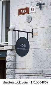 TALLINN/ESTONIA - SEPT. 6, 2020:  A photo of the KGB Prison Cells sign at the entrance to the KGB Museum. The building exhibits KGB artifacts from the Soviet occupation.