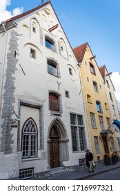 TALLINN/ESTONIA - SEPT. 6, 2020: Photo of some of the Gothic houses in the Hanseatic capital city of Tallinn.  Merchants had beams on the upper part of the houses for craning merchandise in and out.