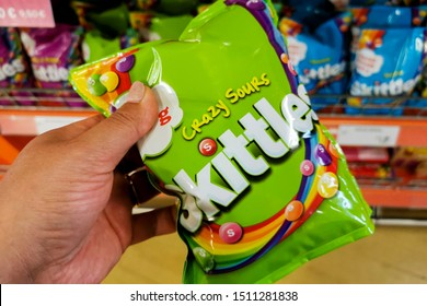 Tallinn/Estonia September 13, 2019 Skittles fruit-flavoured candies. Nowadays Skittles produced and marketed by the Wrigley Company