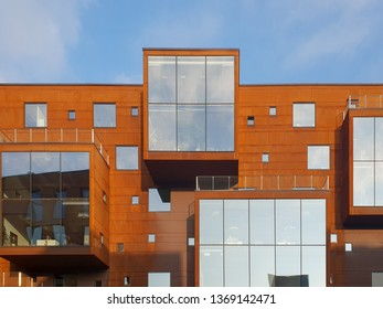Tallinn/Estonia - September 4, 2018: New district, area in Tallinn, Estonia with glass, modern, fashion buildings, architecture in bright futuristic style