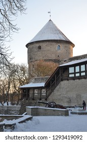 Tallinn/Estonia_18 Jan 2019: Fortress in old town of Tallinn in the snowy winter time. Kiek-in-de-Kok