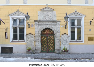 Tallinn/Estonia_18 Jan 2019: The house of a brotherhood Black-headed in Tallinn is located on Pikk Street. The brotherhood Black-headed in Tallinn was founded in 1399