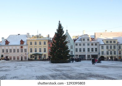 Tallinn/Estonia_18 Jan 2019: Town Hall Square has been a market place and the centre of this old Hanseatic town since the Middle Ages.
