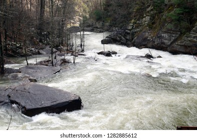 Tallulah River, in Georgia, flowing swiftly after a winter storm.