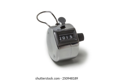 Tally click counter showing 2015 isolated on white background