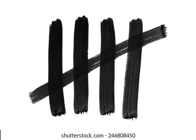 Tally stroke marks counting to five