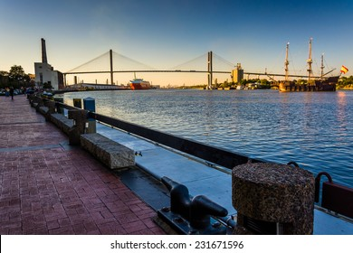 Talmadge Memorial Bridge over the Savannah River in Savannah, Georgia.