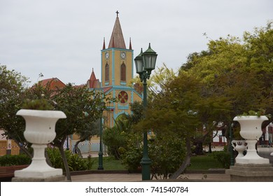 Taltal, Antofagasta Region, Chile - September 2, 2017: Colourful church in the main square of Taltal on the coast of northern Chile.