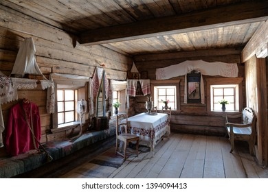 """TALTSY, IRKUTSK REGION, RUSSIA - FEBRUARY 20, 2019:The interior of the house of a rural resident of the Siberian village. Museum """"Taltsy"""", Irkutsk region, Eastern Siberia, Russia"""