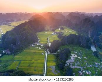 Tam Coc beauty spot in Ninh Binh, Vietnam from above