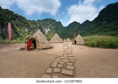 Tam Coc, Bich Dong wetland nature reserve in Ninh Binh Province, Vietnam - May 24, 2018: Tourists visit place where the film Skull Island was filmed in wetland Nature Reserve in Ninh Binh, Vietnam