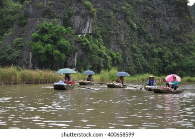 Tam Coc, Vietnam - June, 09, 2015. Travel on the boat at Ninh Binh, Vietnam.Tam Coc national park.Vietnam travel.