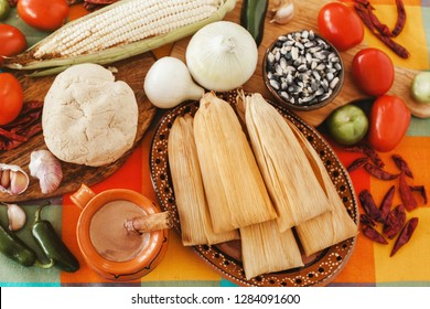 tamales mexicanos, mexican tamale and ingredients, spicy food in mexico