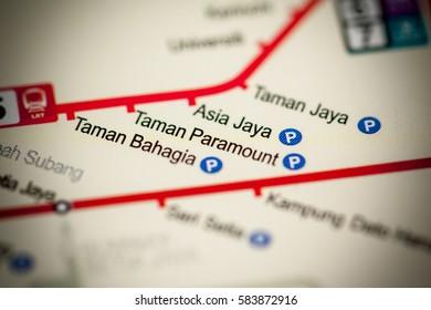 Taman Paramount Station. Kuala Lumpur Metro map.