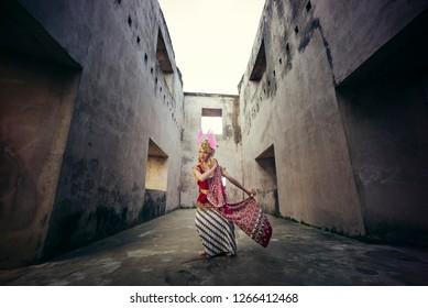 Taman Sari, Jogjakarta / Indonesia - June 26, 2016 : Portrait of Golek Ayun Ayun dancer. a Traditional javanese dance.