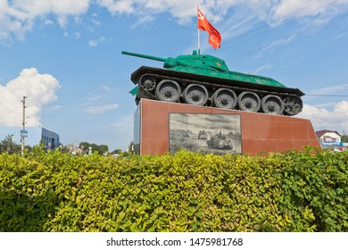 Taman, Temryuk district, Krasnodar region, Russia - July 17, 2019: T-34 tank with a 76 mm gun model of 1941 on a pedestal in the center of Taman village of the Temryuk region of the Krasnodar region