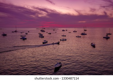 Tamarindo bay in Costa Rica, Sunset with boats