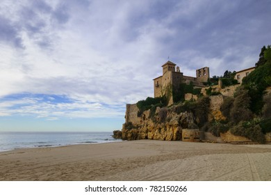 Tamarit Castle next to Meditterranean sea in Tarragona, Catalunya, Spain
