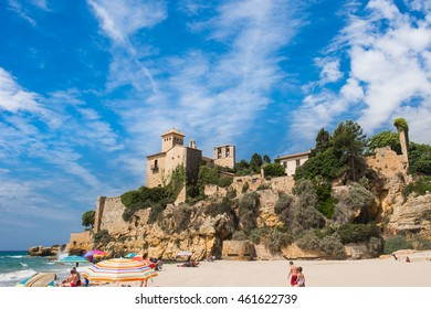 Tamarit, Spain - 06/15/2016. A view of the ancient castle from the beach