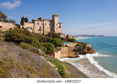 TAMARIT, SPAIN - MARCH 28, 2013: Tamarit Castle on March 28, 2013 in Tamarit, Spain. Built in the eleventh century on a promontory on the shore of the Costa Dorada.