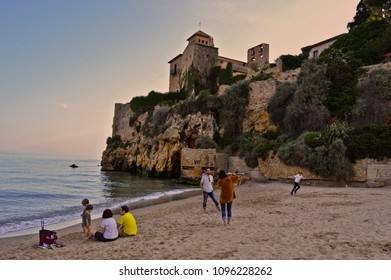 Tamarit village / Tarragona province / Catalonia / Spain - May.18.2018 - Tamarit beach and castle view
