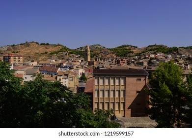 Tamarite de Litera village / Huesca province / Aragon / Spain - September.08.2018 - Village view from a hill