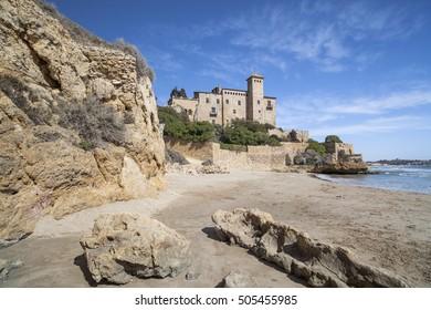TAMARIT-TARRAGONA,SPAIN-MARCH 8,2012: Castle of Tamarit, mediterranean beach, province Tarragona, Costa Daurada, Catalonia.