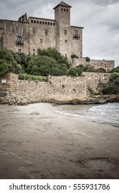 TAMARIT-TARRAGONA,SPAIN-SEPTEMBER 10,2015: Castle of Tamarit, mediterranean beach, province Tarragona, Costa Daurada, Catalonia.