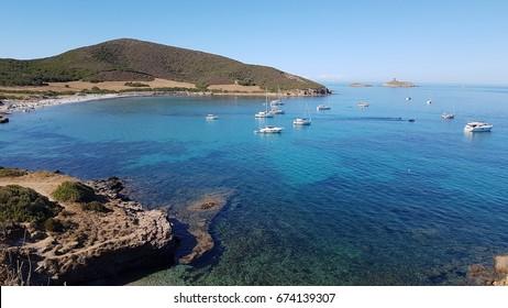 Tamarone Beach. Cap Corse. North of Corsica. Sea, coast line and yachts.