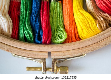 tambour with threads for embroidery