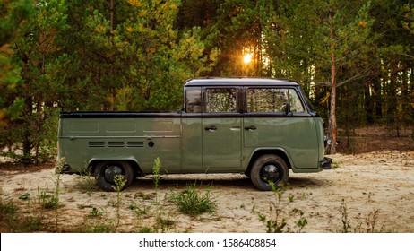 Tambov, Russia - November 04, 2019: Vintage german VW double cab Transporter, Tambov, Russia on November 04,2019 in Tambov, Russia