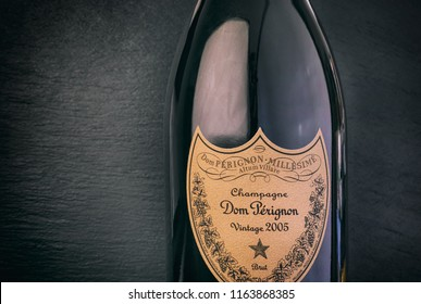 Tambov, Russian Federation - August 14, 2018 Close-up of Bottle of Champagne Dom Perignon Vintage 2005 against black background. Studio shot.