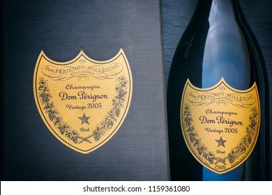 Tambov, Russian Federation - August 16, 2018 Close-up of Bottle of Champagne Dom Perignon Vintage 2005 near black box with label. Studio shot.