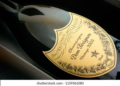 Tambov, Russian Federation - August 16, 2018 Close-up of Bottle of Champagne Dom Perignon Vintage 2005 in its box. Studio shot.