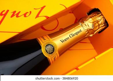 Tambov, Russian Federation - August 16, 2015 Bottle of Champagne Veuve Clicquot Brut in gift box. Studio shot.