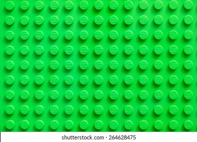 Tambov, Russian Federation - February 20, 2015 Lego green baseplate. Lego toys manufactured by the Lego Group (Billund, Denmark).