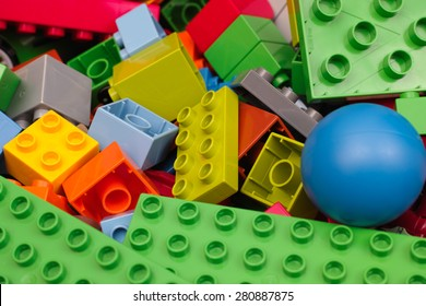 Tambov, Russian Federation - February 20, 2015 Heap of Lego Duplo Blocks and toys. Studio shot. All toys in heap manufactured by the Lego Group. Lego Duplo is a toys for children age 1,5-5.