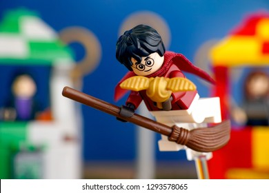 Tambov, Russian Federation - January 20, 2019 Lego Harry Potter on broom captured the Golden Snitch and win the Quidditch Match. Studio shot.