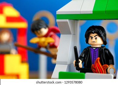 Tambov, Russian Federation - January 20, 2019 Quidditch Match Lego Harry Potter play set. Professor Snape minifigure on Slytherin house tower.