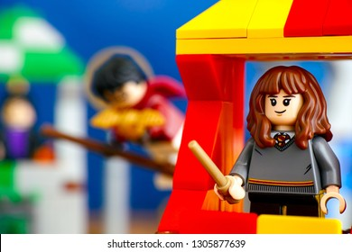 Tambov, Russian Federation - January 20, 2019 Quidditch Match Lego Harry Potter play set. Hermione Granger minifigure on Gryffindor house tower.