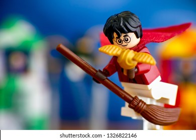 Tambov, Russian Federation - January 20, 2019 Lego Harry Potter on broom captured the Golden Snitch and win the Quidditch Match.