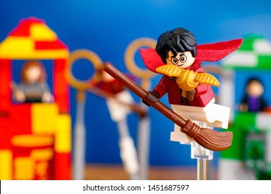 Tambov, Russian Federation - January 20, 2019 Lego Harry Potter on broom captured Golden Snitch and win the Quidditch Match.