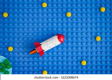 Tambov, Russian Federation - January 20, 2020 Lego Space Rocket Blasting Off To Space Through The Starry Sky.