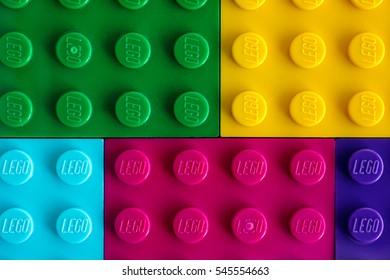 Tambov, Russian Federation - July 24, 2016 Background of different colors Lego baseplates. Studio shot.