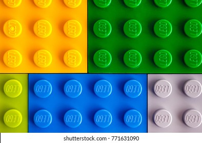 Tambov, Russian Federation - July 24, 2016 Backgrounds of different colors Lego baseplates. Studio shot.